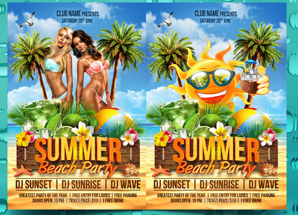 Beach Party Editable Flyer