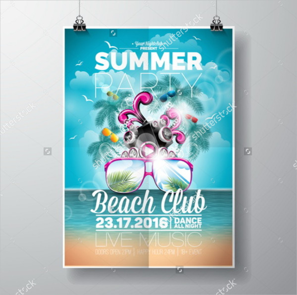 Beach Party Vector Design Flyer