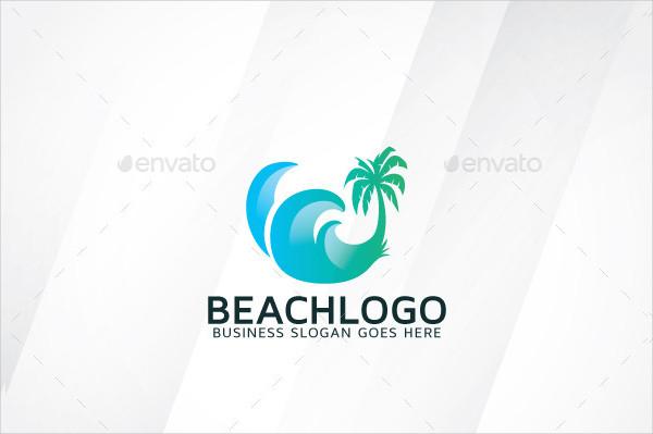 Clean Beach Vacation Logo Template