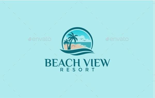 Beach View Resort Logo Template