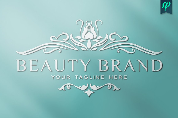 Beauty Brand Logo Template with Flowers