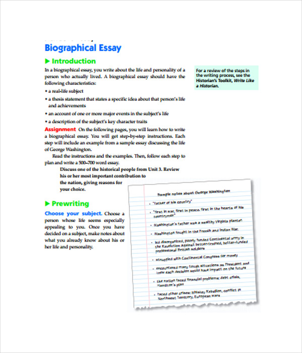 Biographical Essay Template