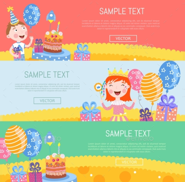 Birthday Banners Vector Illustration