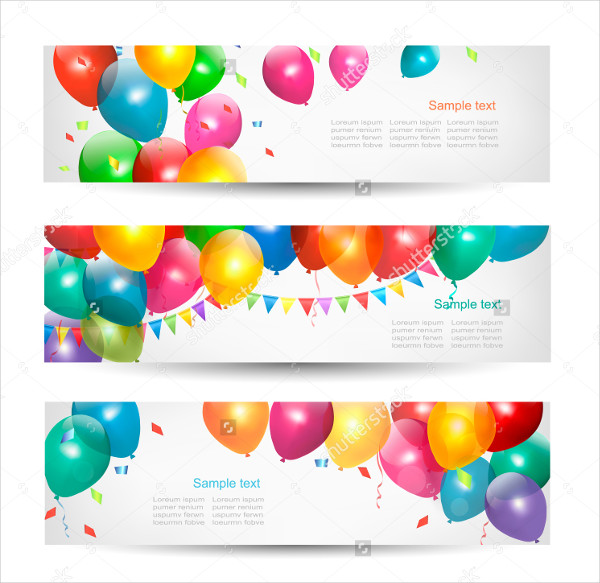Birthday Banners with Colorful Ballons