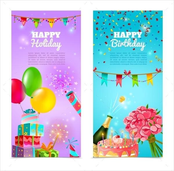 Birthday Holiday Celebration Banners Set