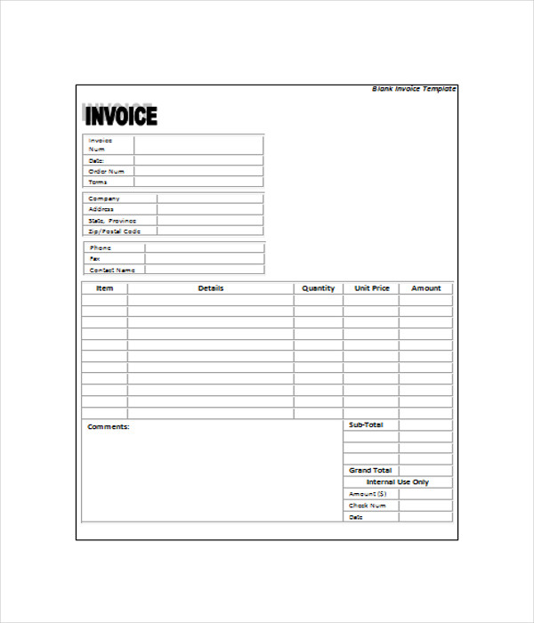 6  blank invoice templates