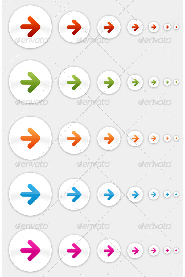 Cool Arrow Buttons in Seven Colors