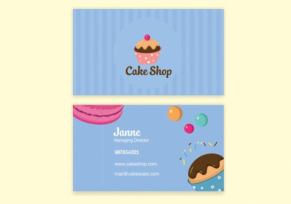 Blue Bake Shop Business Card Template Free