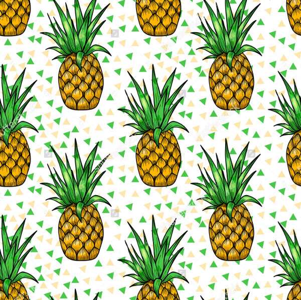 Bright Pineapples Seamless Pattern