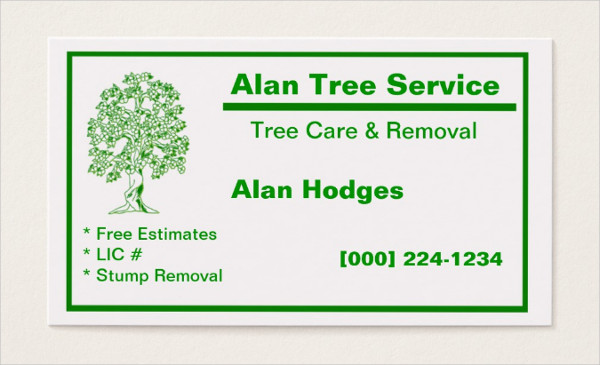 Business Card for Tree Service