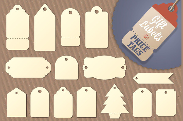 Blank Gift Tag and Price Label Shapes
