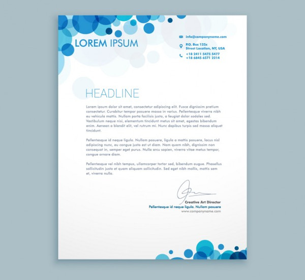 Business letter with blue circles Free Download