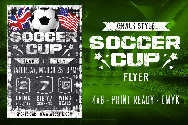 Chalk Soccer Sports Flyer Template