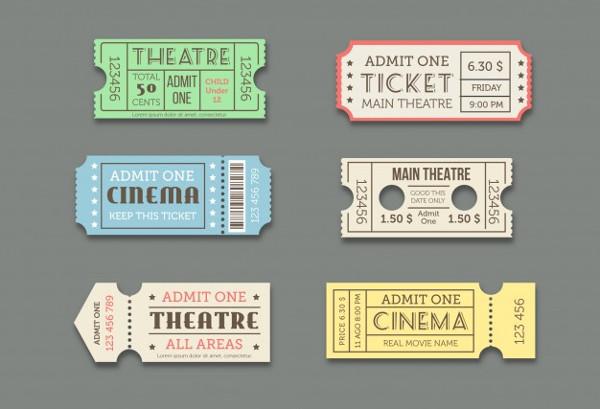 Cinema Theatre Ticket Templates Set Free Vector