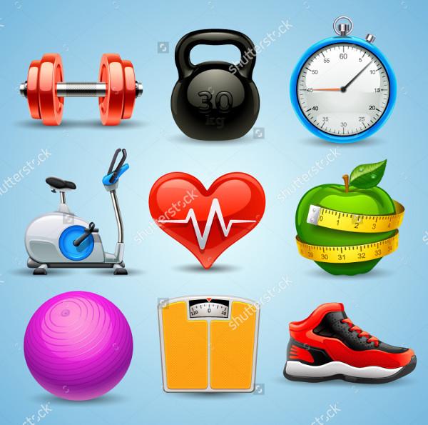 Clean Design Fitness Icon Set