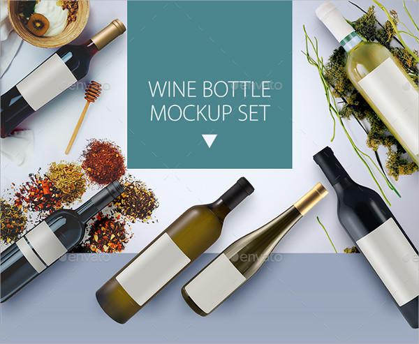 Clean Wine Bottle Mockups Set