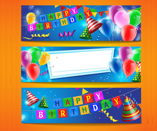 Colored Ballons Birthday Banners
