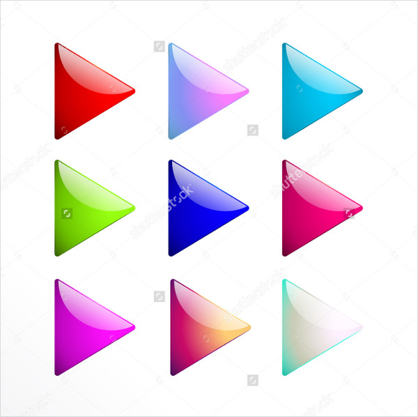 Set of Colorful Head Arrows Buttons
