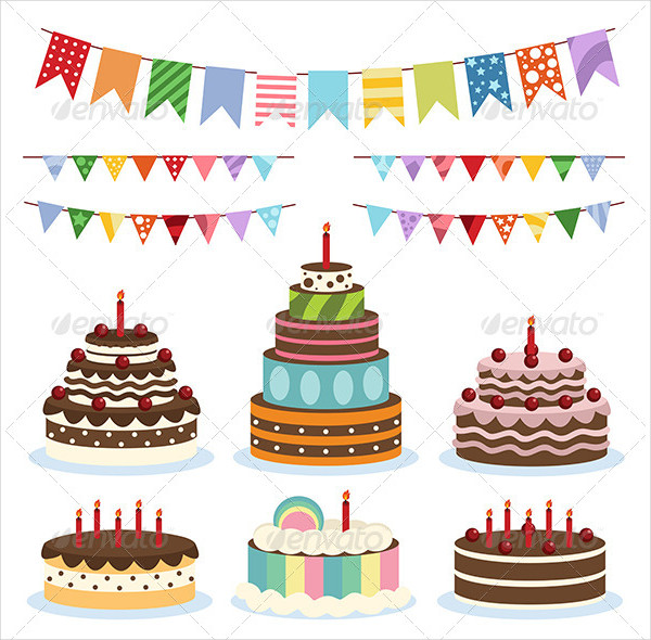 Colorful Birthday Banners & Cakes