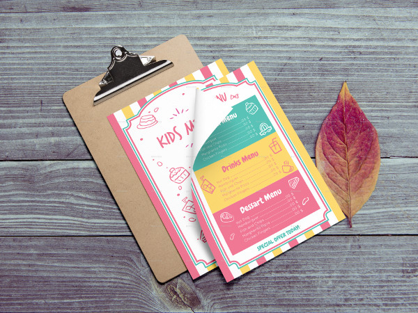 Colorful Kids Menu Template