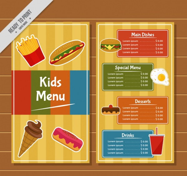 Colorful kid's Menu With Stripes Background
