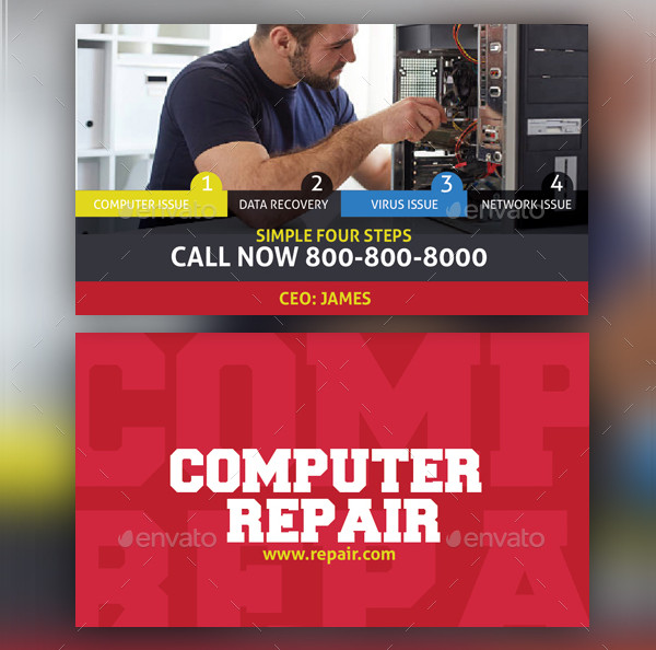 Computer Repair Service Business Card Template