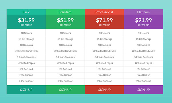 Flat and Clean Pricing Table for Website