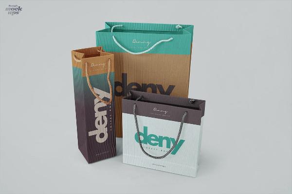 Corrugated Paper Bag 3 Types Mockup