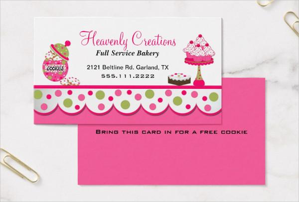 Cute Pink & Green Bakery Business Card Template