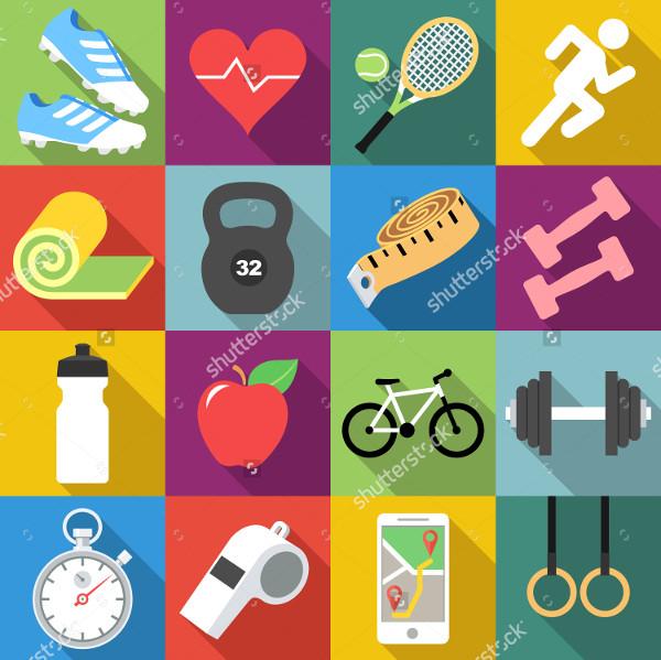 Fitness Flat Design Icons