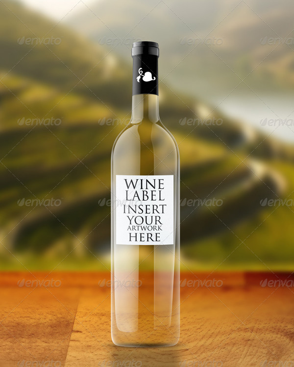 Easy to Edit Wine Bottle Mock-Up