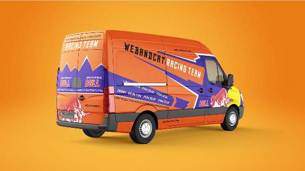 Editable Mockup of Van