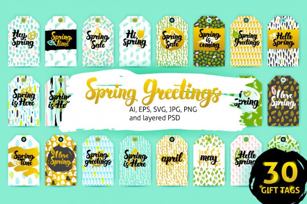 Editable Spring Gift Tags