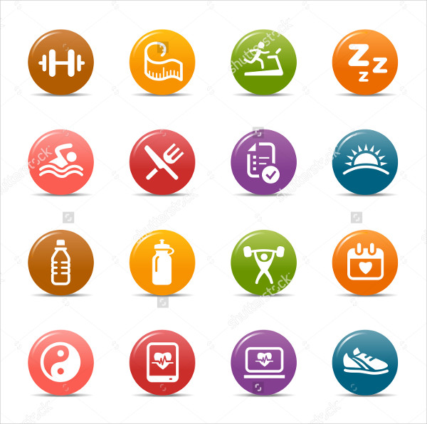 Colored Dots Fitness & Health Icons