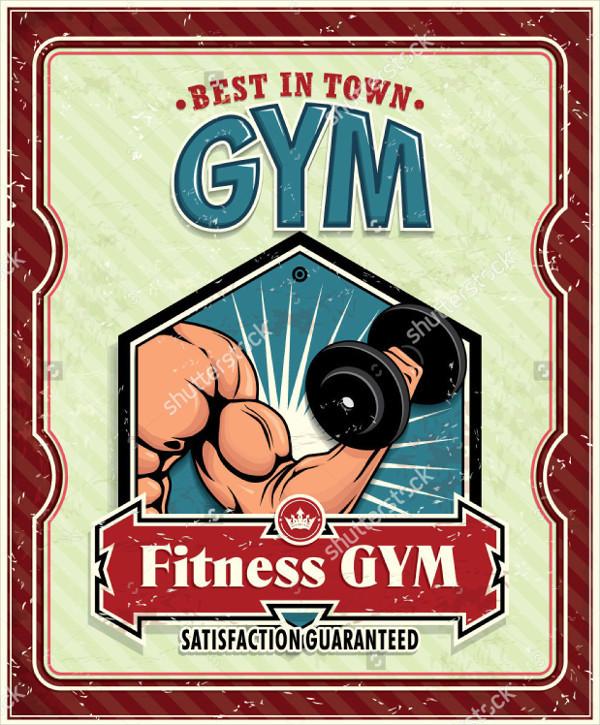 Vintage Fitness or Gym Poster Design