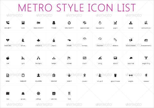 Fitness Metro Style Icons