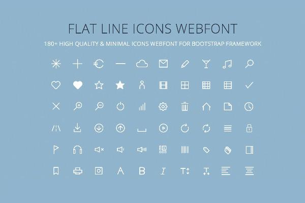 Flat Line Icons Web Font