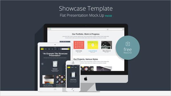 Flat Responsive Showcase PSD Mockup