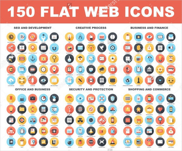 150 Flat Web Icons Vector