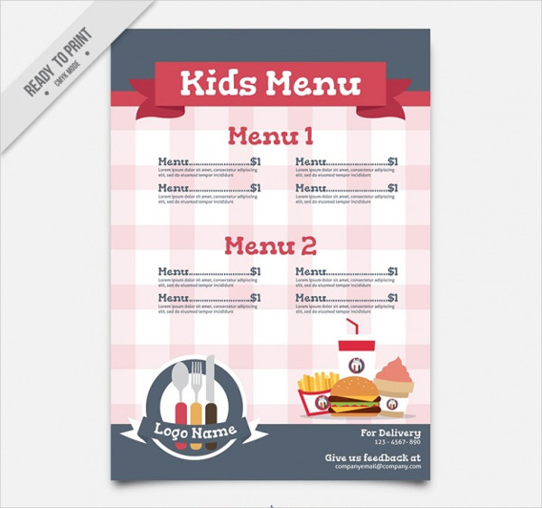 Flat Kid's Menu with Checkered Background Free