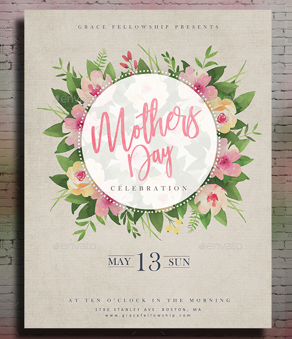 Mothers Day Brunch V2 Flyer Template: 17+ Mother's Day Invitation Templates