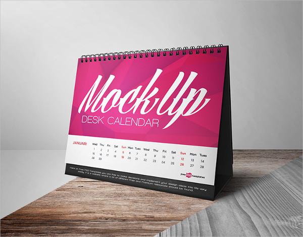 Free PSD Mockup of Calendar