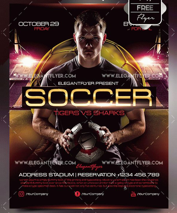 Free PSD Soccer Flyer Template