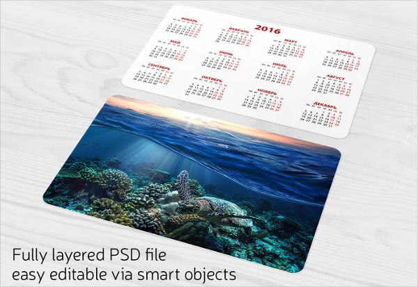 Free Pocket Calendar Mock-Up