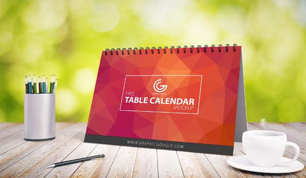 Free Table Calendar Mock-up