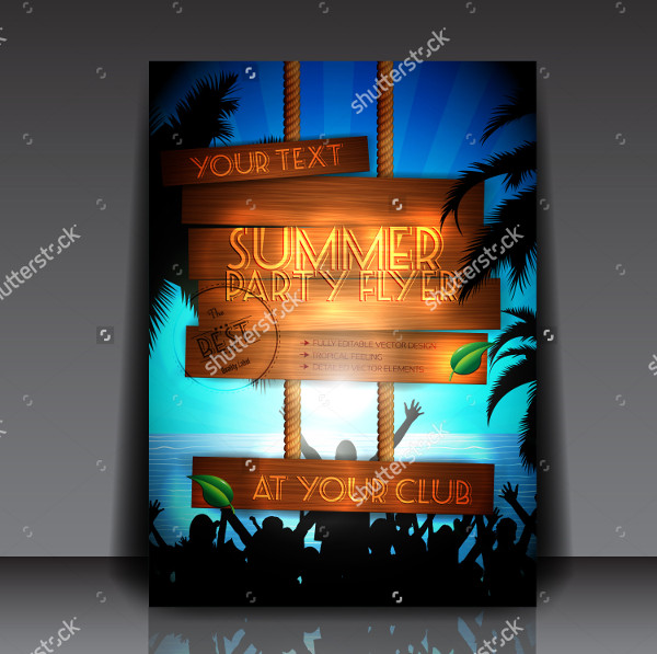 Fully Editable Summer Party Club Flyer