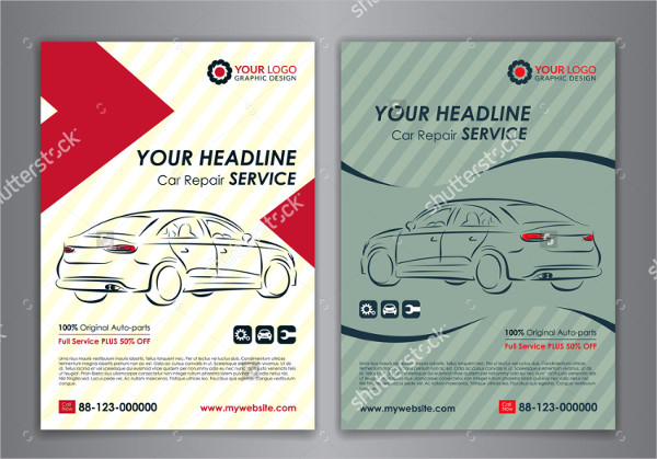 Set of Auto Repair Services Flyer Templates
