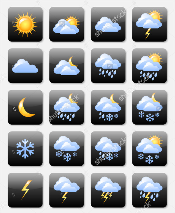 Glossy Weather Icon Set