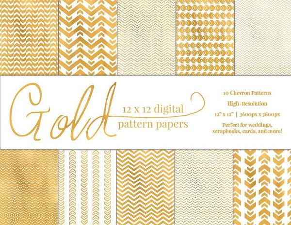 Gold Chevron Pattern Paper