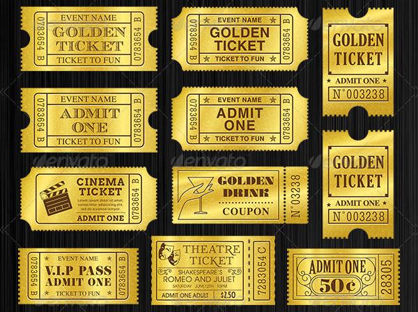 Golden Tickets Templates Set